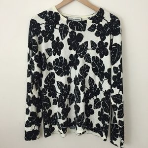 CATHY DANIELS Wool Hibiscus Floral Sweater